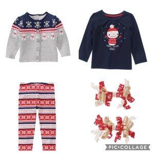 Gymboree 3 Piece Snowman Sweater Set 2T w/ Bows